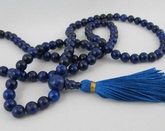 6mm Lapis lazuli mala - Blue small 108 beads mala - Tassel necklace - yoga - meditation - wrap mala bracelet