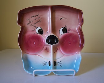 DeForest California  Pottery Pig Plate Tray   Go Ahead Make a Pig of Yourself