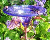 Dragonflies, BUTTERFLY FEEDER, stained glass, copper, Purple, Garden Art, housewarming gift, GARDEN decor