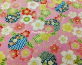 Japanese cherry blossom and motif, pink, gold metallic, 1/2 yard, pure cotton fabric