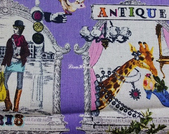 Paris in Victorian style, purple, 1/2 yard, cotton linen blended fabric