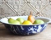 Vintage Blue Swirl Enamelware Pan, Farmhouse Primitive Antique Decor