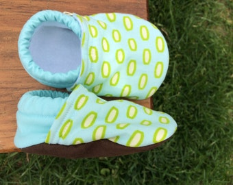Baby Shoes for Boys - Light Blue and Multi-Green Fabric - Modern Geometric - Custom Sizes 0-24 months 2T-4T