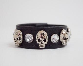 Black Leather Skull and Diamond Studded Bracelet