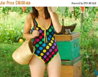 SALE Large Polka dotted  one piece swimsuit VINTAGE 90s