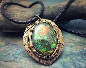 Bronze PMC and Vivid Ammolite Necklace.
