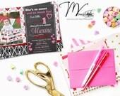 Chevron Chalkboard Valentine's Birthday Invitations, Valentine's Photo Card - Digital File You Print