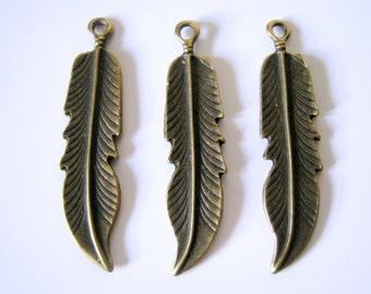 10 Bronze Tone Feather Charm Pendants