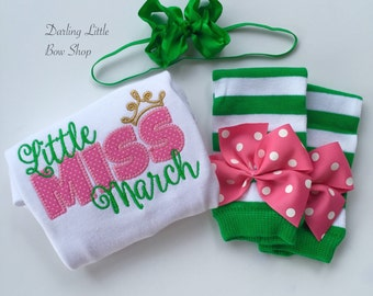 Baby Girl Outfit for Birthday, Take Me Home -- Little Miss March -- bodysuit, headband and leg warmers - green and bright pink