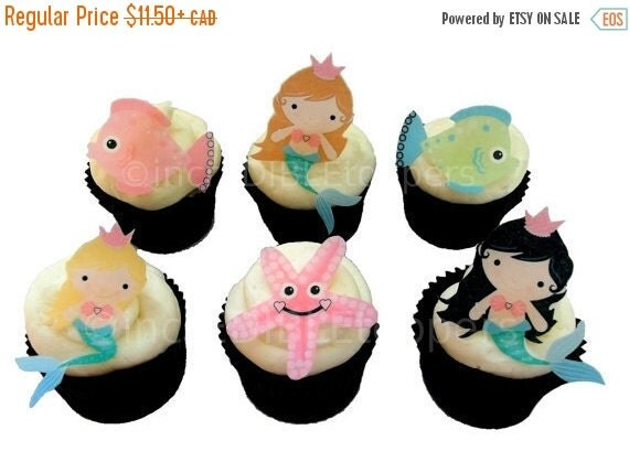 SALE Cake Cupcake Toppers Mermaid Cupcake Toppers and Cake Decorations, Edible Image, Under The Sea Mermaid Birthday Party, Mermaid Cupcakes