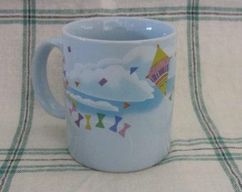 Vintage 80s Coffee Mug Blue Rainbow Kites Otagori Made in Japan
