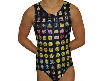 Girls Gymnastics Leotard Dance Leotard Gymnastic Leotards Emoji Gymnastics Girls Leos Gymnast Dance leo Bodysuit sizes Toddler - Adult