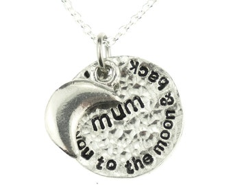 I Love You To The Moon And Back Mum Necklace - A Lovely Gift Idea For Mum for Birthday, Christmas & Mothers Day