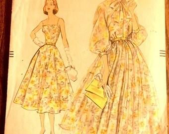 50s Vogue Dress Pattern 9105 One Piece Dress and Slip Dress Size 12 Bust 32