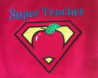 School/teacher super teacher appliqued TSHIRT