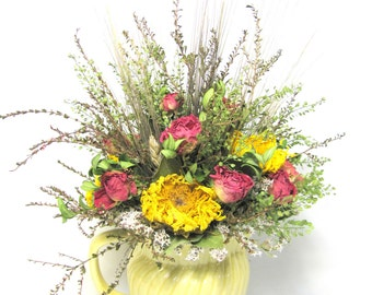Dried Floral Arrangement in Vintage Ceramic Pitcher, Kitchen Decor, Dried Flowers, Centerpiece