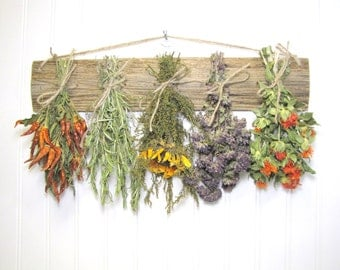 Fragrant Dried Herb Rack, Kitchen Decor, Dried Floral Arrangement, Wall Decor, Dried Flowers