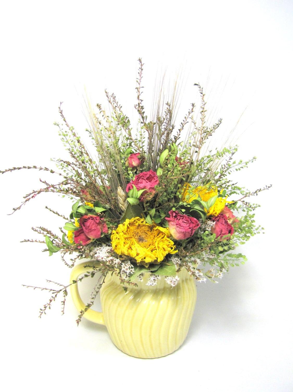 dried floral arrangement in vintage pitcher. Black Bedroom Furniture Sets. Home Design Ideas