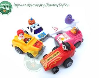 1980s McDonalds Pull Back Cars Set of 5 80s Toys Fast Macs