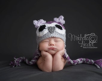 Owl Hat Baby Girl  Baby crochet hat Photography Prop Sizes Preemie, Newborn, 0-3 months, 3-6 months