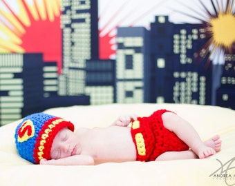 Superman Inspired  Baby Boy Crochet Hat and Diaper cover Set Newborn Photography Prop Ready Item