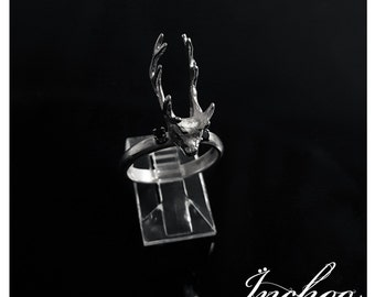 Silver Deer Head and Black Zirconia Ring, Deer Mount Ring, Reindeer Ring, Winter Jewelry, Antler Ring, Fall Jewelry, Christmas Gift, Bambi
