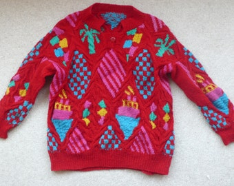 SALE 25% off Rare Patricia Roberts handknit wool sweater complicated & beautiful 7 - 10 yr old