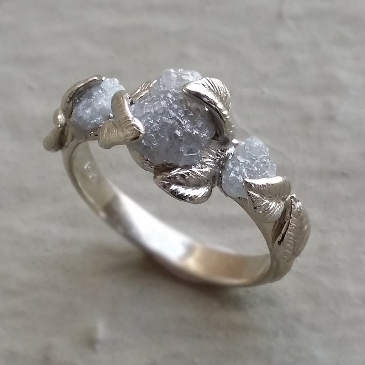 Raw Diamond Engagement Ring 14K White Gold and Rough Diamond