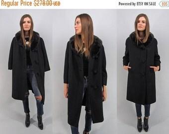 On Sale - Vintage 30s Boucle Coat, Mink Collar Coat, 30s Heavy Wool Coat, Black Wool Coat Δ fits sizes: xs / sm / md