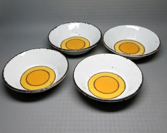 MIDWINTER SUN 4 soup cereal bowls  Stonehenge England pottery stoneware