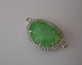 Faceted Glass Green Connector  Bezel with Clear Cubic Zirconia Rhodium Brass 25x15mm