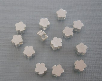 8pcs- Matte Silver Flower Beads, Wholesale Star Brass Beads, Beading Supplies, Jewelry Making(5mm).