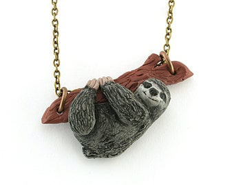 Sloth necklace charm pendant jewelry with bronze chain, grey sloth polymer clay , sloth sculpture , sloth figurine , sloth miniature
