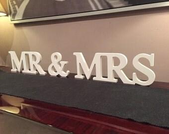 Wooden Wedding Letters - Mr & Mrs - Joined, 20cm high, Georgian Font