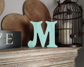 Hand-painted Wooden Letter M - Freestanding -Victorian Font - Various sizes, finishes and colours - 30cm