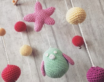 "Crochet Baby Mobile "" BIRDIE"" - mint/pink/purple/yellow/fuchsia"