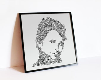 Matthew Bellamy poster - MUSE print - limited print edition - intricate doodle portrait made of details and fun stories