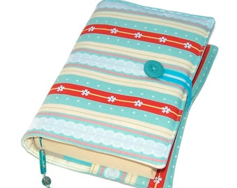 Book Cover STRIPE DELIGHT, Handmade Bible Cover, Fabric Book Cover, UK Seller, Suitable for Hardback or Paperback books