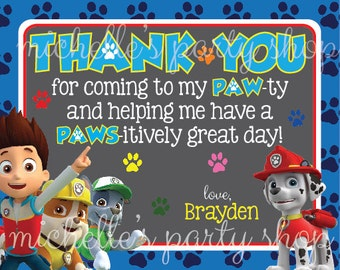 PRINTABLE, Paw Patrol Thank You Notes
