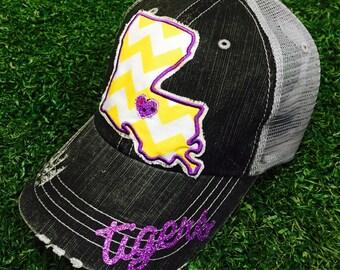 State of Louisiana Tigers LSU Baseball Bling Ladies Womens Trucker Hat