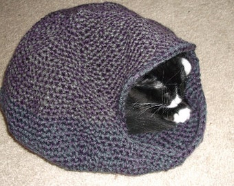Hand Crochet Cat Cozy or Cat Bed, Cat Cave, Pet Bed in PURPLE and GREY Mix
