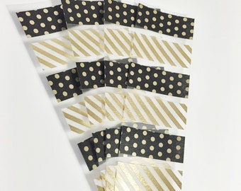 24 Individual Samples Set of 4 Black and Gold Sample Sheets of Washi Tape Washi Samples Erin Condron Life Planner ECLP Size Cut Samples