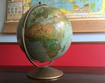 "Repogle Land and Sea Vintage Globe 12"" Diameter Mid Century"