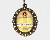 Votes For Women Necklace, Election, Suffragette, Politics, Political, Historical Jewelry, Feminist, Feminism, Oval Pendant