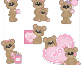 I Love You Mom Bears 1 Clipart (Digital Zip Download)