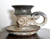 Antique Minoyaki Japanese Candle Holder, Asian Incense Burner, Pottery Censer, Ancient Kyoto Temple Buddhist