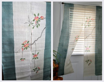 Hemp Fiber Noren Curtain, Japanese Panels, Handmade, Floral, Tapestry, Wall Hanging, Window Dressing, Asian Japan Home Decor, Organic Fiber
