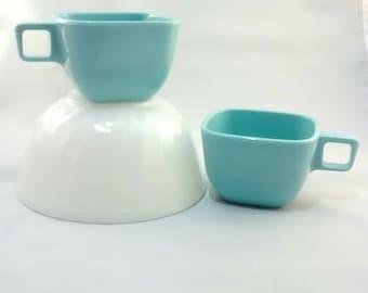Two vintage aqua cups, mugs, Retro coffee cups