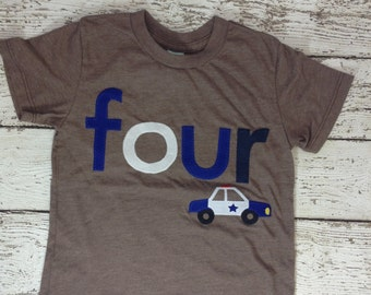Boy's shirt, police car, police car party, emergency vehicle, Ready to Ship, birthday shirt, four shirt, boys birthday shirt, boys clothing
