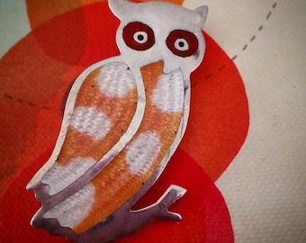 Vintage Sterling Silver Mexican Owl Enamel Brooch